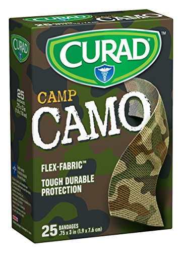 Curad 25 Camouflage Green Fabric Bandages (Pack of 6) ()