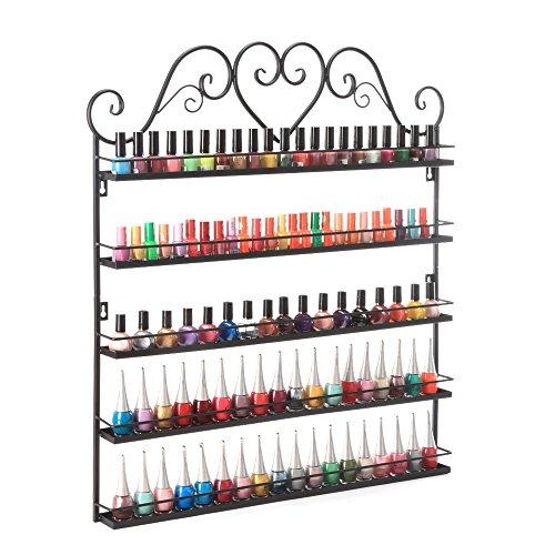 Dazone Nail Polish Wall Rack 5-Layer Organizer Holds 100 Bottles Nail Polish Shelves Black ()