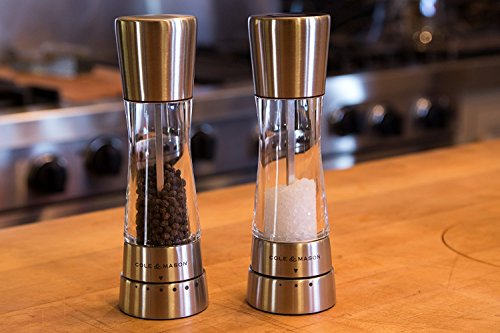 COLE & MASON Derwent Salt and Pepper Grinder Set - Stainless Steel Mills Include Gift Box, Gourmet Precision Mechanisms and Premium Sea Salt and Peppercorns