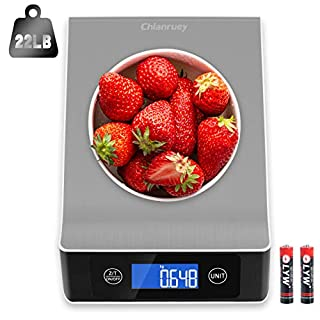 Food Scale, 22lb/10kg Digital Kitchen Scale Weight Grams and oz for Cooking Baking, 1g/0.1oz Precise Graduation, Stainless Steel, LCD Display, Low Battery Alarm