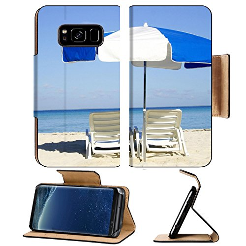 Liili Premium Samsung Galaxy S8 Plus Flip Pu Leather Wallet Case Umbrella and loungers on the beach Photo 311231 Simple Snap Carrying