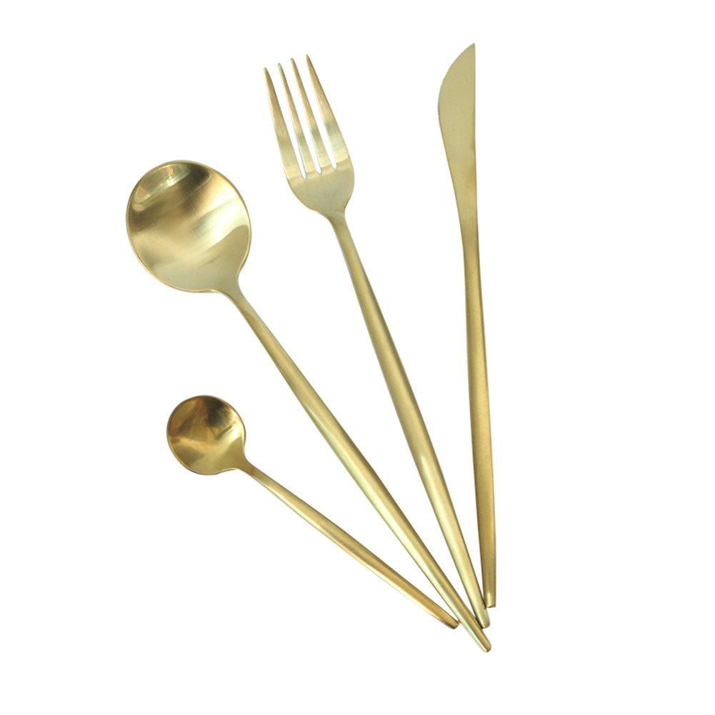 wonderfulwu Flatware, 4pcs Set of 304 Stainless Steel Titanium - Electroplated Matte Cutlery Upscale Dinnerware (Black)
