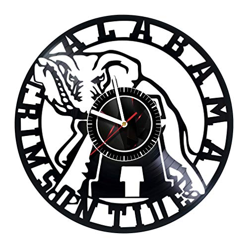 Alabama Crimson Tide - Handmade Vinyl Records Wall Clock - Original Present for Fans - Art Room Decor Handmade Decoration Party Supplies Theme Birthday Gift - Vintage and Modern Style ()