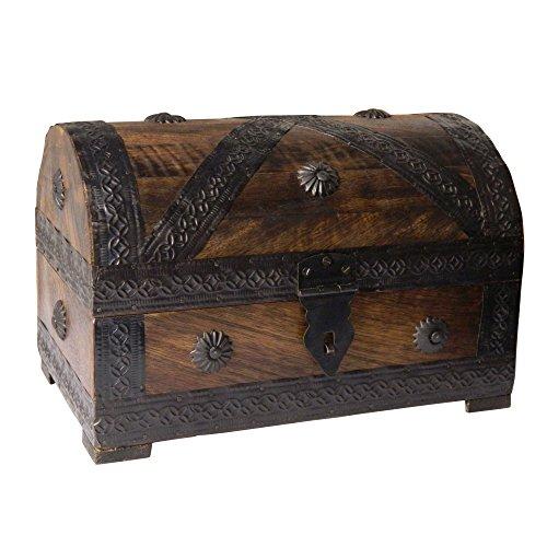 Cofre del tesoro caja de madera cofre pirata aspecto antiguo almacenamiento 24x15,5x16cm: Amazon.es: Hogar