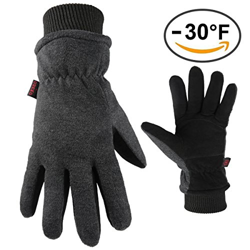 OZERO Work Gloves Coldproof Winter Ski Warm Glove with Deerskin Suede Leather Palm & Thermal Polar Fleece Back - Windproof & Waterproof - Hand Warmers in Cold Weather for Men and Women (Old Hide House)