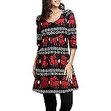 Dress Romper for Women,Women Xmas Dress Ladies Christmas Deer Elk Print Three Quarter Party Dresses,Work,Red,L