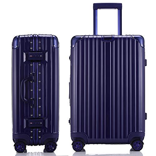 JINXIANGMEスーツケースアルミニウムマグネシウム合金フレーム 機内持ち込みスーツケース 預け入れスーツケース厚手 耐摩耗TSAロック 静音キャスター海外旅行 SZ-6007 L ブルー B07K3YXPJH