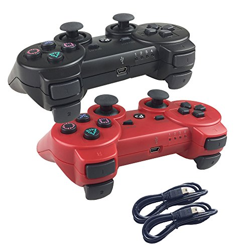 Deloke Wireless Bluetooth Controller For PS3 Double Shock - Bundled with USB charge cord (Red and Black) (Grand Theft Auto V Best Price)