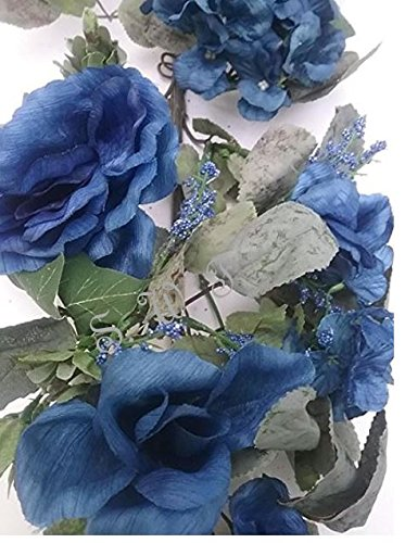 28'' Crinkle Rose Swag Artificial Silk Wedding Bridal Bouquet Craft Flowers Home Decor (Blue)