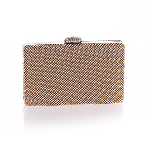 SUPERCB Flap Dazzling Small Clutch Bag Evening Bag With Detachable Chain Champagne (Shoe Lip Gloss Keychains)