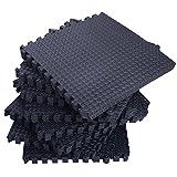 onestops8 72Sq Ft Foam Interlocking Exercise Protective Tile Flooring Gym Floor Mat Black