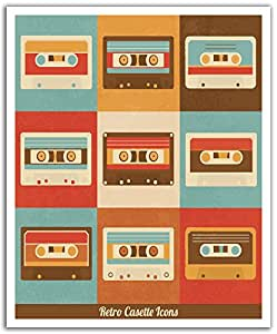J.P. London POS2492 U-Strip Peel and Stick Vintage Retro Cassette Tape Mixed Removable Wall Decal Sticker Mural, 19.75-Inch by 24-Inch