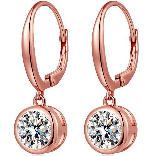 - Bezel Earrings Bezel Dangle Earrings Sterling Silver Cubic Zirconia Bezel-Set Dangle Leverback Earrings Women Fake Diamond Earrings Fashion Round Bezel Dangle Earrings Rose Gold Bezel Diamond Earrings