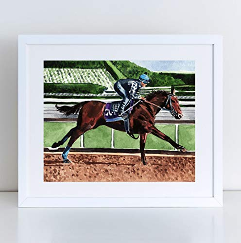 American Pharoah Art Print Watercolor Painting Wall Home Decor Triple Crown Thoroughbred Horse Race Racing Kentucky Derby Party Preakness Churchill Downs Equine Canvas
