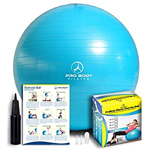 ProBody Pilates Exercise Ball – Professional Grade Anti-Burst Fitness, Balance Ball for Pilates, Yoga, Birthing, Stability Gym Workout Training and Physical Therapy