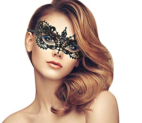duoduodesign Exquisite Lace Masquerade Mask (Black/Venetian/Soft -