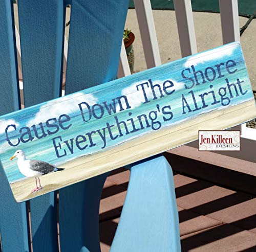 DASON Cause Down The Shore Everythings Alright New Jersey Wall Art Jersey Shore Wood Decor NJ Personalized Beach House Sign (Cause Down The Shore Everythings Alright Sign)