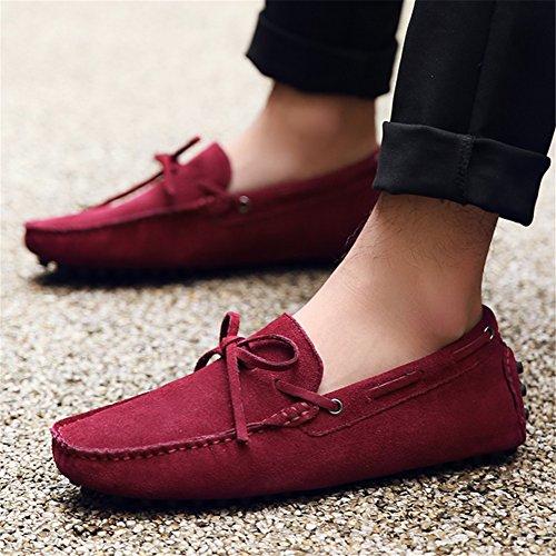 Hecho Conducción Talla Gamuza Suave Grande Jamron Zapatos Borgoña de Zapatillas Mano Mocasines a Hombres x0Fxnqa