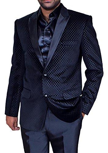 INMONARCH Mens Black Dinner Blazer Partywear Two Button Black VB27R48 from INMONARCH