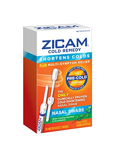 Cold Medication - Zicam Cold Remedy Nasal Swabs, 20 Count, Cold-Shortening Nasal Swabs Clinically Proven to Shorten Colds. With Menthol and Eucalyptus