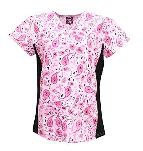 (Divine Scrubs Women's Medical Nursing Stretch Top Patterned Multi Pocket Uniform Shirt (Pink Ribbon Paisley, Large) )