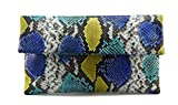 Genuine Multicolor Blue & Yellow Python Leather Classic Foldover Clutch Bag