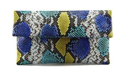 Python Shoulder Handbag Bag Purse - Genuine Multicolor Blue & Yellow Python Leather Classic Foldover Clutch Bag