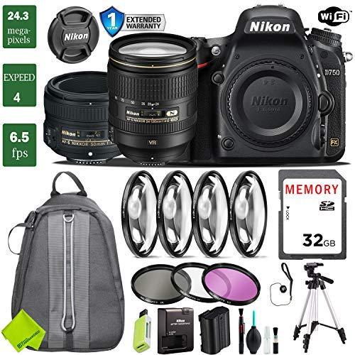 Nikon D750 DSLR Full Frame Camera with 24-120mm VR Lens & Nikon 50mm f/1.8 Lens + 4 Piece Macro Close-Up Set + 3PC Filter Kit (UV FLD CPL) + Tripod + Backpack + 1 Year Extended Warranty (Nikon Cheapest Camera)