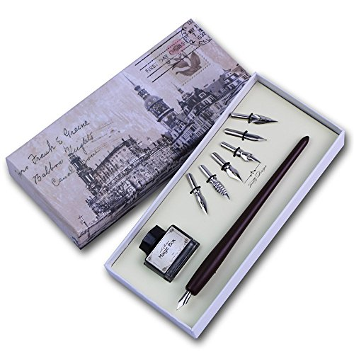 FEATTY Christmas Gifts Quill Pen Set Antique Dip Wooden Pen Calligraphy Writing With 6 PCS Nibs And Ink