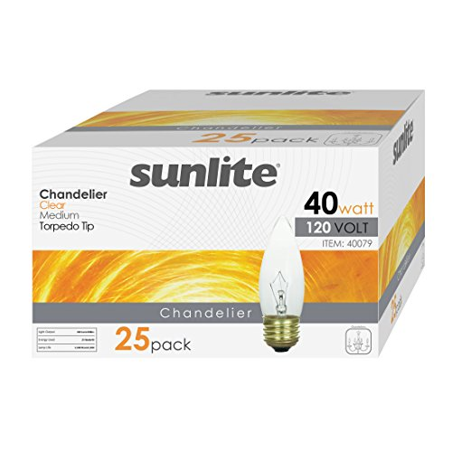 Sunlite 40ETC/32/25PK 40W Incandescent Torpedo Tip Chandelier with Crystal Clear Light Bulb and Medium E26 Base (25 Pack)