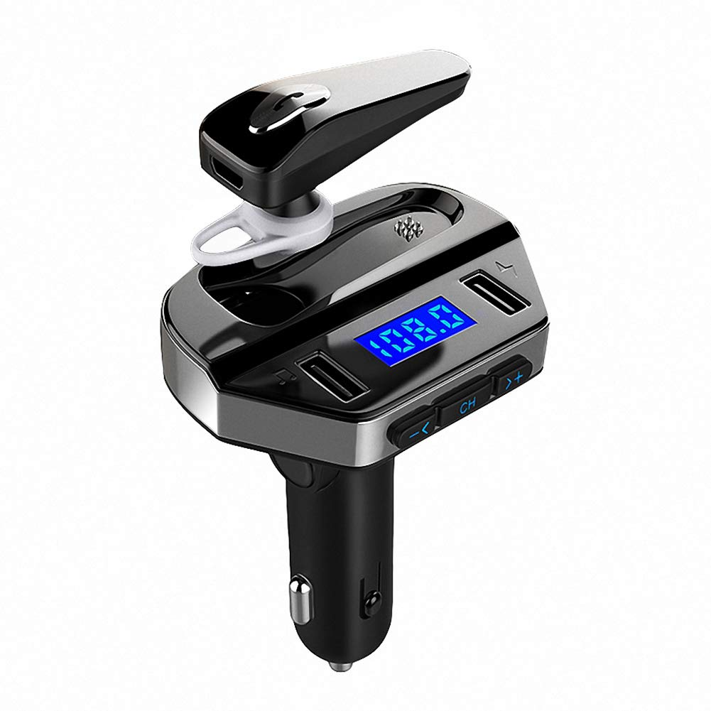 Bluetooth Car FM Transmitter with Earphone, MANLI Audio Adapter Receiver Car Kit with Wireless Hands Free Calling Headset, Support Flash Drive Music Player & Fast Dual USB Port Charging
