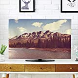 iPrint LCD TV dust Cover Strong Durability,Apartment Decor,High Canadian Rock Mountains and River with Trees and Cloudy Sky Snow Tops Landscape Photo,Multi,Picture Print Design Compatible 47'' TV