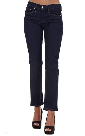 Pantalones Vaqueros para Mujer - Corte Recto - Talle semialto - Tejido elástico - Índigo