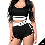 GUAngqi Women's Striped Sport Bodycon Crop Top Skinny Pant Set Outfit Crop Top+Shorts Tracksuits,XL