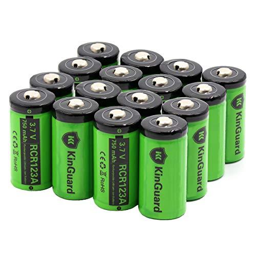 (RCR123A Rechargeable Batteries KinGuard 16 Pack 3.7V 750mAh CR123A Li-ion Battery for Arlo Camera VMC3030 VMK3200 VMS3330 3430 3530 Security System Flashlight)