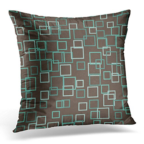 - TORASS Throw Pillow Cover Blue Aqua Retro Mod Mid Century Brown Teal Decorative Pillow Case Home Decor Square 18x18 Inches Pillowcase