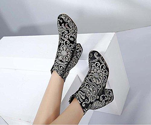 Ricamo Dimensione Stivali Chunkly Boots Stivaletto Charming Toe 40 Dress Partito Round Martin Sequins Donne sposa 6cm Fiori Scarpe da Eu Stivali Stivaletti tacco Black 34 xRFwaqwA4X