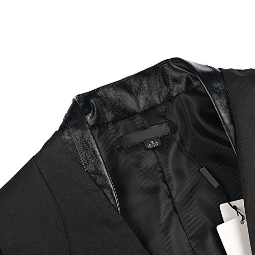 HaoDuoYi Womens Sequin PU Faux Leather Contrast Color Block Business Blazer Coat
