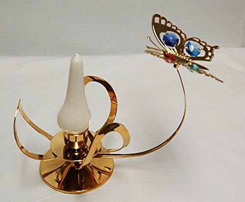- Antique Butterfly Taper Holder - 24k Gold Plated with Mixed Color Swarovski Austrian Crystal