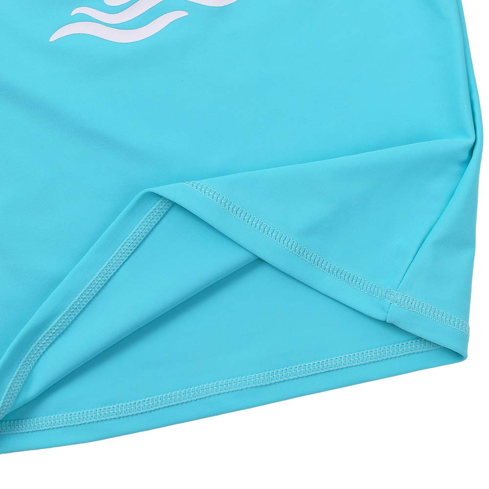 TFJH E Long Sleeve Swim Shirt for Girls Rash Guard Suit Sun Protection 50+ 9-10years, Cyan 12A by TFJH E (Image #5)