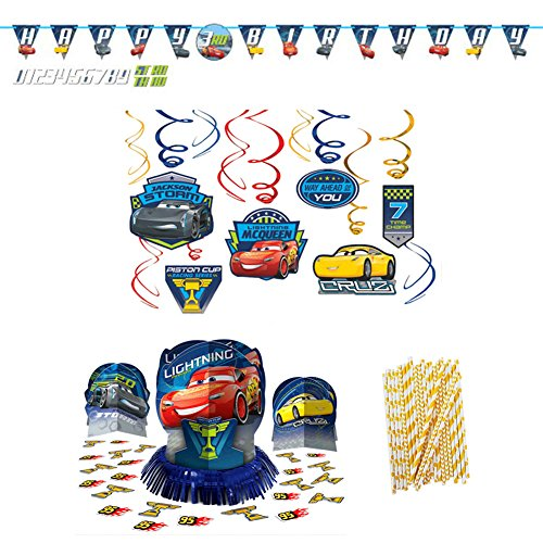 Cars Birthday Party Decorations Supplies | Straws, Hanging Swirls, Table Decorating Kit, and Jumbo Add-an-Age Banner | Celebrate Your Little One's Birthday With Lightning Mcqueen And The Gang!