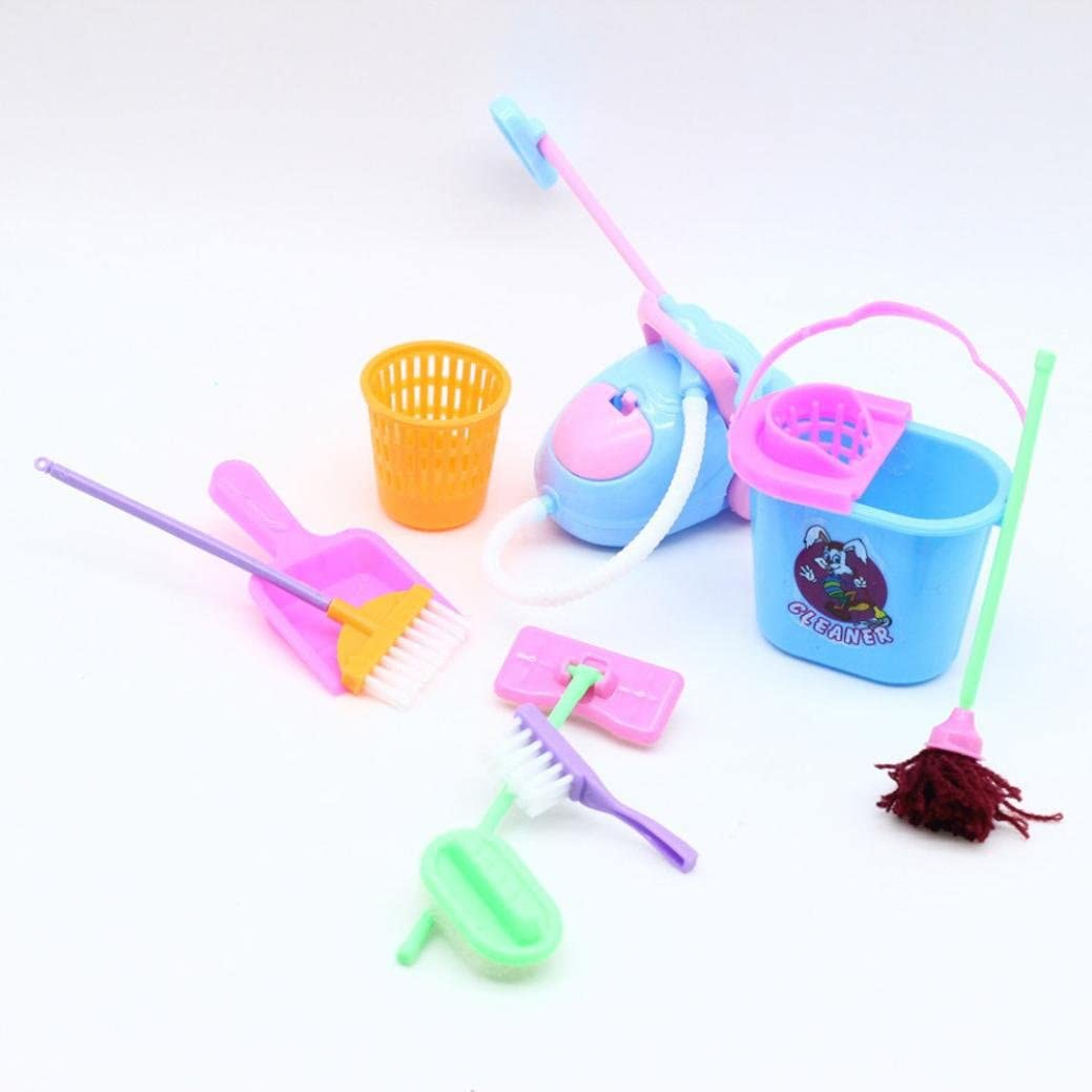 E-SCENERY 9Pcs Vivid Children Pretend Cleaning Kit Playset for Barbie Dolls Dollhouse Kids, Cleaning Tool Pretend Play for Early Educational Toy