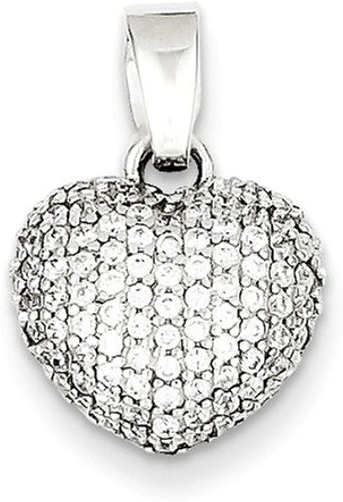 .925 Sterling Silver Rhodium Plated CZ Heart Charm Pendant