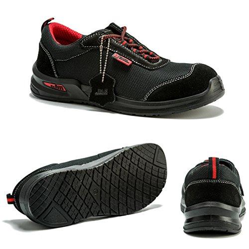Chaussures de sécurité Adulte Mixte avec embout de protection hauteur cheville semelle de protection pour randonnée 4482 Black Hammer