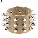 Aland Bracelet,Punk Triple Lines Stainless Steel Pointed Cone Rivet Faux Leather Bangle Bracelet Skin Color