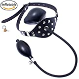 Inflatable Mouth Gag Bound Masks - Davidsource Studded Faux Leather Panel Gag Open Mouth Plug Head Harness Restraints Kit (Padlock 1 Piece)