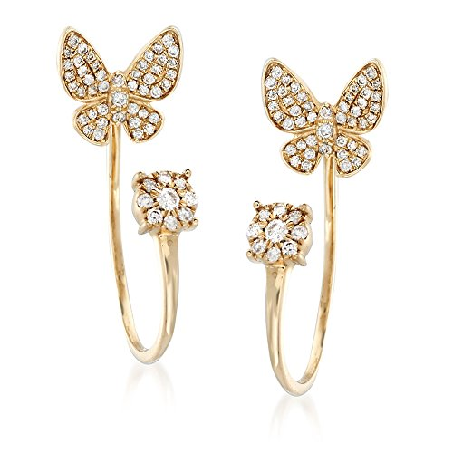 Ross-Simons 0.45 ct. t.w. Diamond Butterfly Posts With J-Hoop Earring Jackets in 14kt Yellow Gold