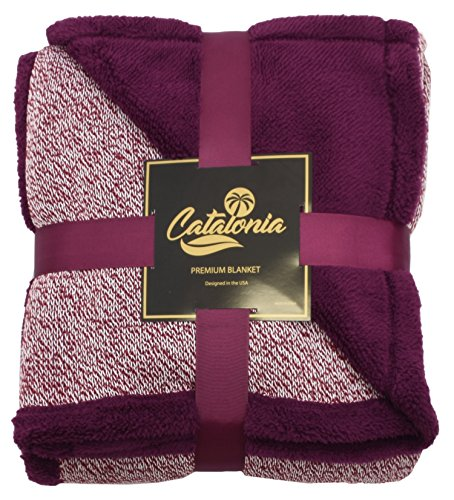 Catalonia Sherpa Throws Blanket,Reversible Super Soft Plush Fuzzy Blanket with Fleece Lining for Bed Couch Sofa 60x50 Wine Red