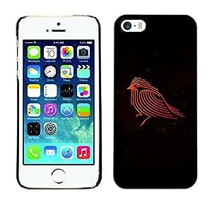LECELL--Funda protectora / Cubierta / Piel For Apple iPhone 5 / 5S -- Firebird Red Robin Black Minimalist --