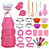Conleke Kids Cooking and Baking Set, 31Pcs Toddler Dress Up Chef Role Play for 4 5 6 7 8 9 Year Old Boy Toys, Includes Apron for Little Boys, Chef Hat, Mitt, Cookie Cutter, Silicone Baking Cups (Pink)